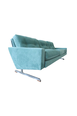 Teal Danish Modern Sofa by Johannes Andersen