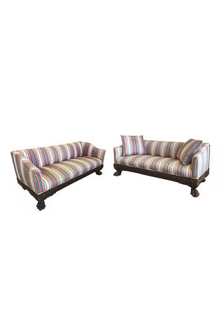 19th Century Victorian Carved Wood Sofas in Striped Silk - a Pair