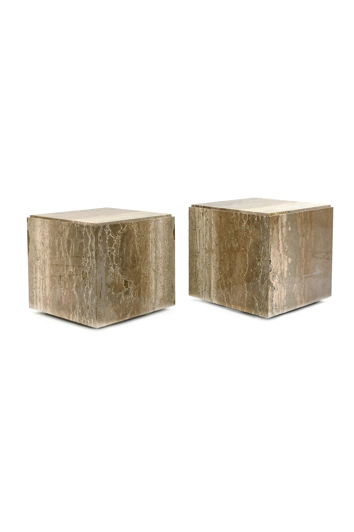 Pair of Travertine Cube Side Tables in the Style of Willy Rizzo