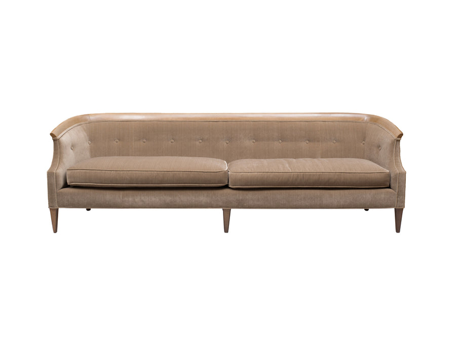 Mid-Century Velvet & Walnut Sofa by Erwin-Lambeth