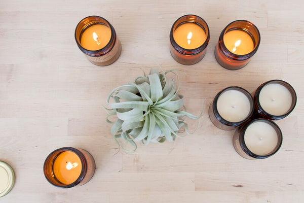 Candle jars with soy wax and essential oils