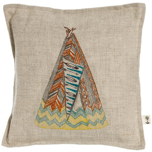 Embroidered Linen Home Tipi Treasure Pillow