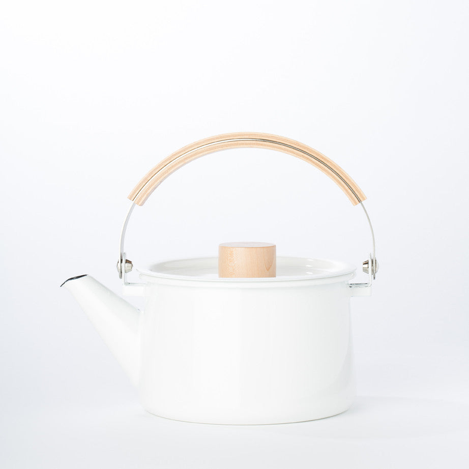 Enamel + Wood Tea Kettle