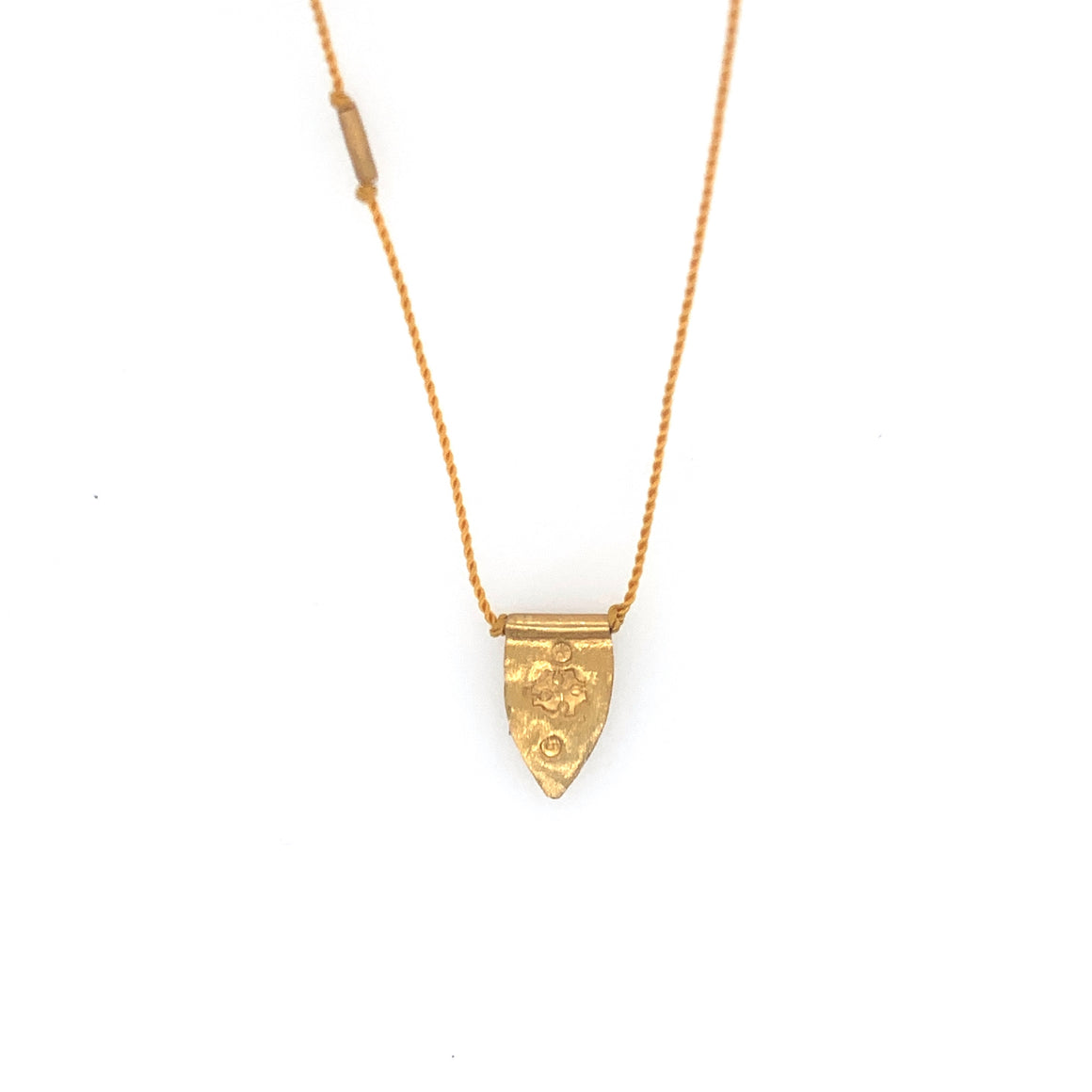 Pointed Shield Talisman Necklace - Mustard