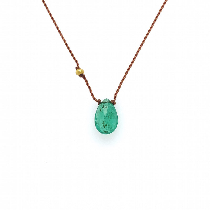 ** Faceted Emerald Necklace + Gold Bead **