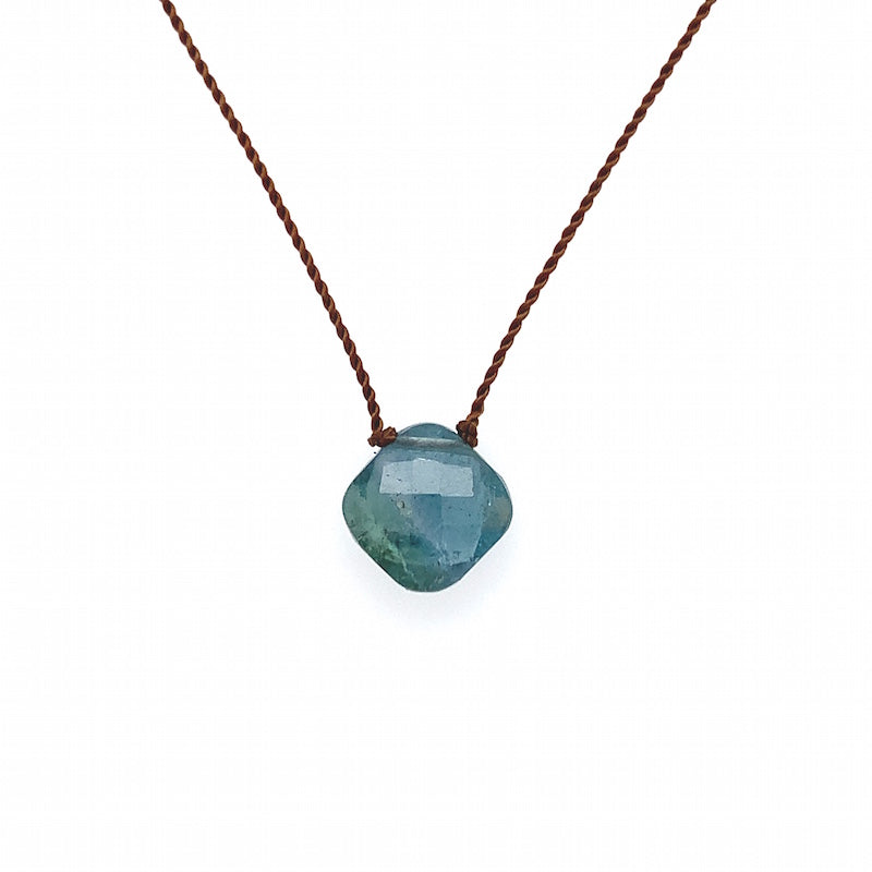 Faceted Droplet Necklace - Teal Tourmaline