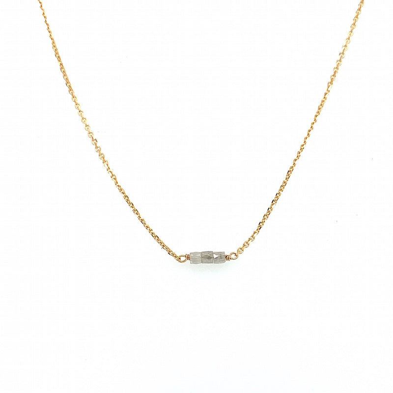 Slinky Grey Diamond Bead Necklace 18k Yellow
