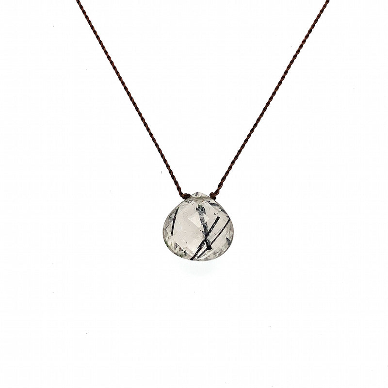 Faceted Droplet Necklace - Tourmalinated Quartz