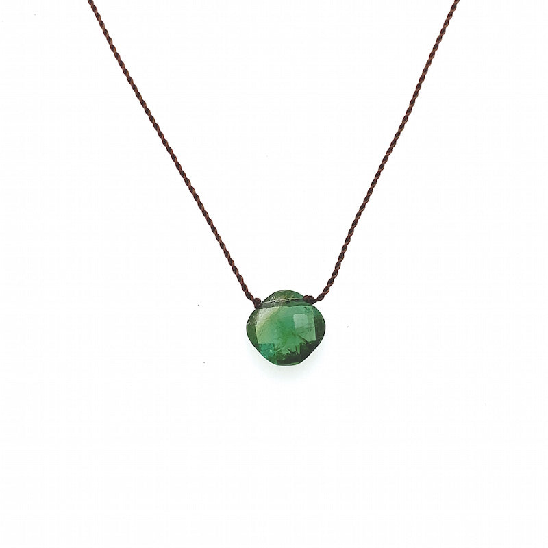 Faceted Droplet Necklace - Green Tourmaline