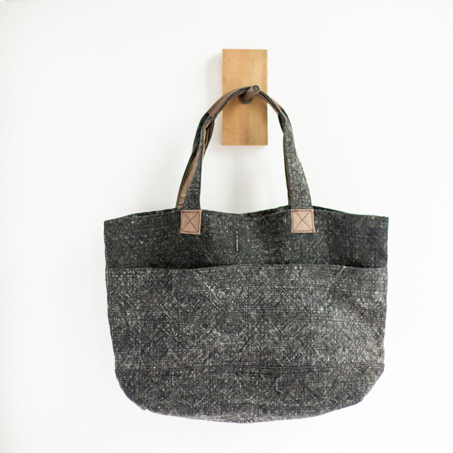 Wide Linen Tote Bag (Charcoal)