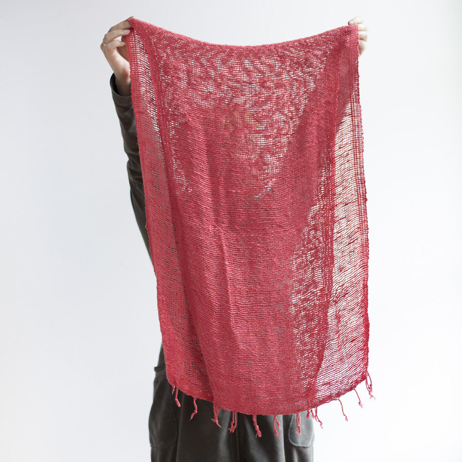Open Weave Scarf  Coral