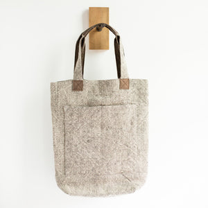Deep Linen Tote Bag (Light Grey) - KESTREL