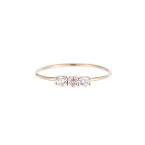 14K 3 Small Diamond Ring - KESTREL