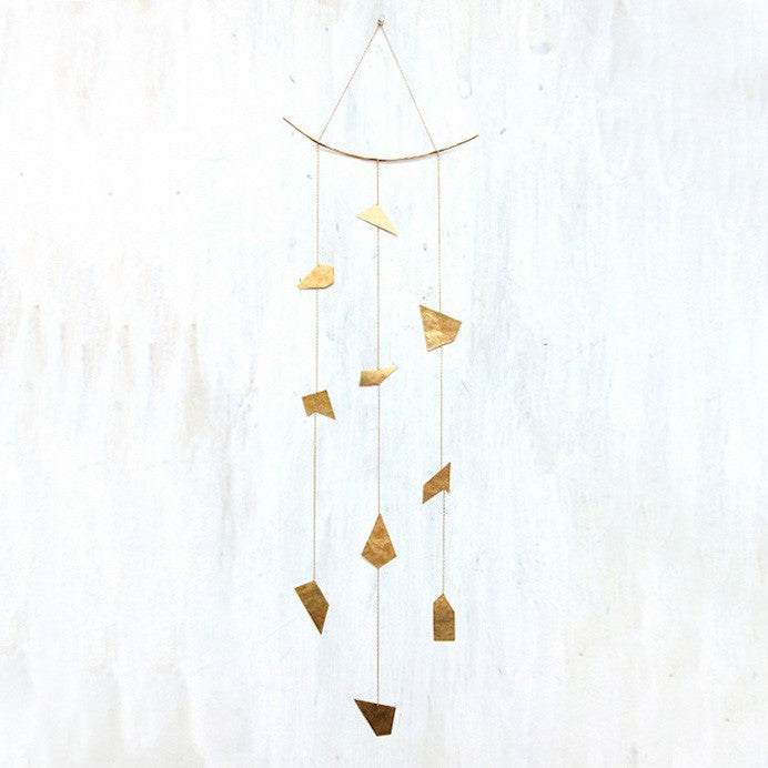 Three Strand Hand-cut Brass Ornament Mobile