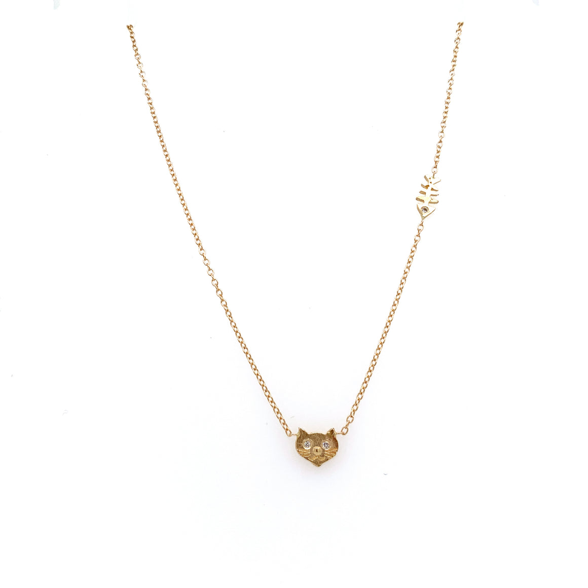 14k Tiny Cat + Fishbone Necklace