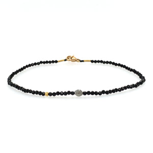 Black Spinel Bracelet + 18k bead + Diamond