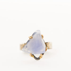 Chalcedony Ring With Thick Folded Band - KESTREL