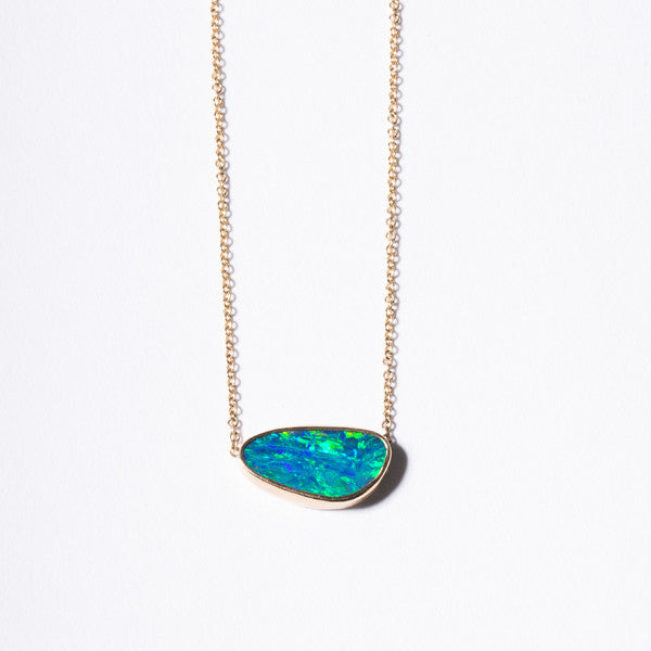14K Blue Opal Doublet Bar Necklace - KESTREL