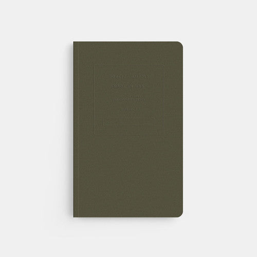 Embrossed Softcover Dot Notebook in Olive Green