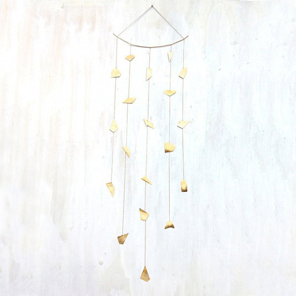 Five Strand Hand-cut Brass Ornament Mobile
