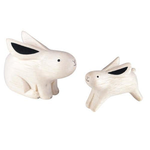 Tiny Wooden Bunny Family