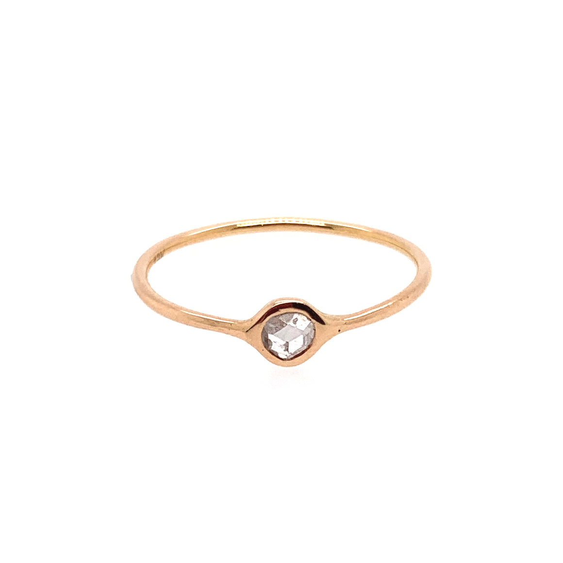 18k Rose Gold Round Diamond Stack Ring