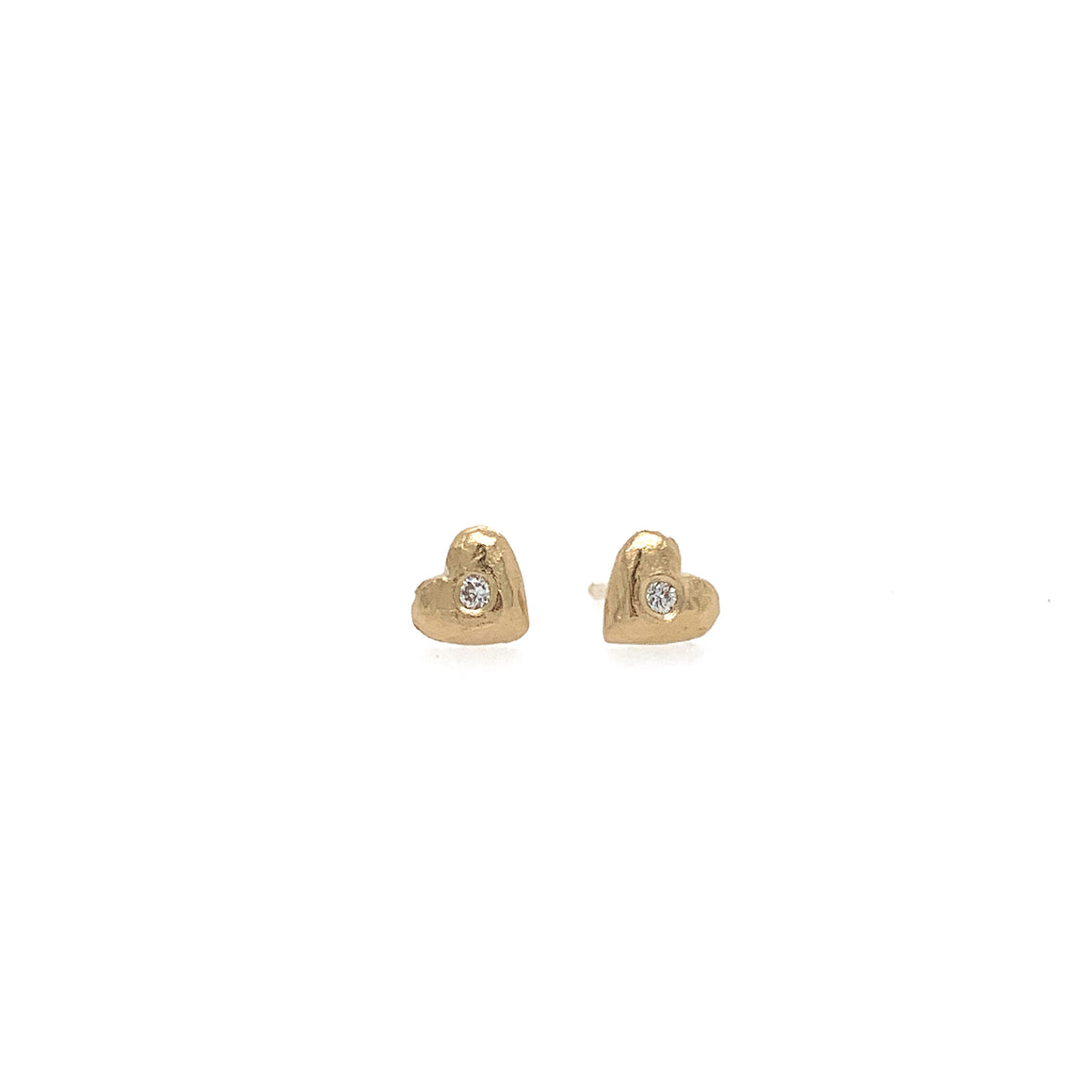 14k Tiny Heart Studs w/ Diamonds