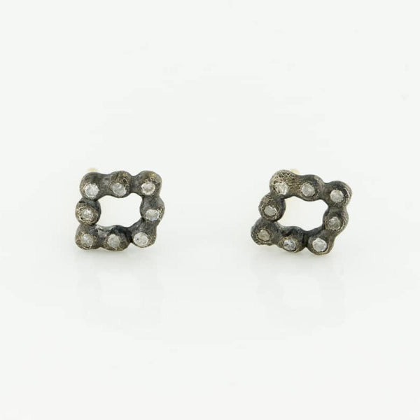 Oxidized Diamond Frame Studs