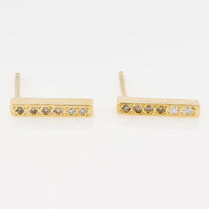 14K Ombre Diamond Bar Studs - KESTREL