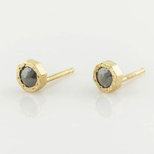 14K Rosecut Grey Diamond Studs