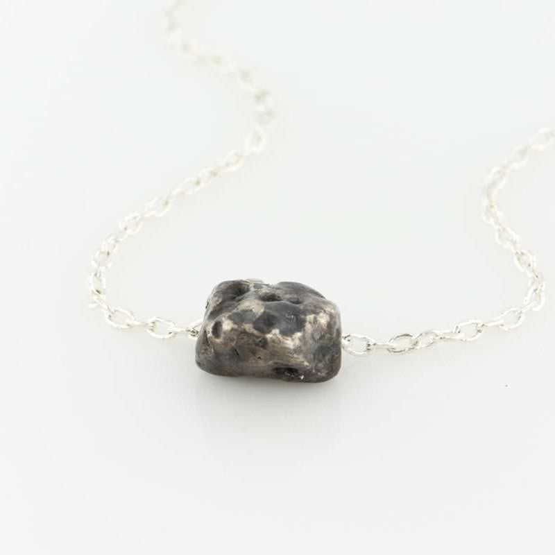 Oxidized Sterling Meteorite Lava Necklace