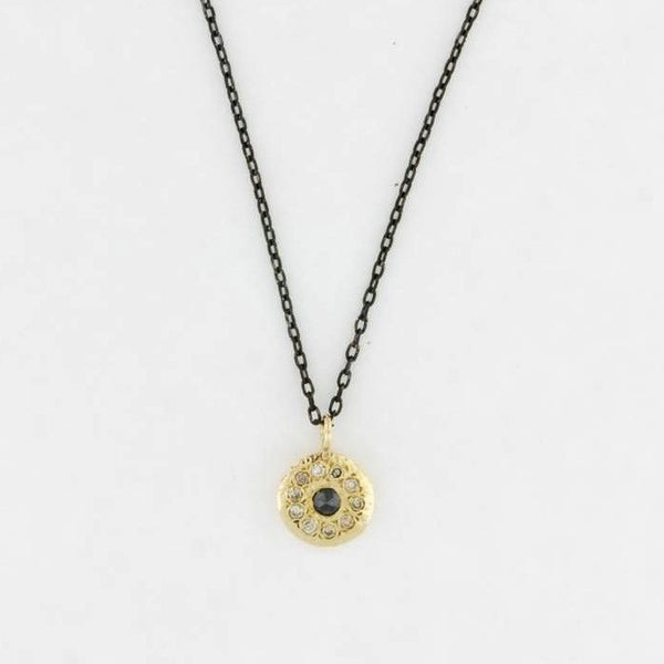 14K Gold Disk Necklace with Diamonds