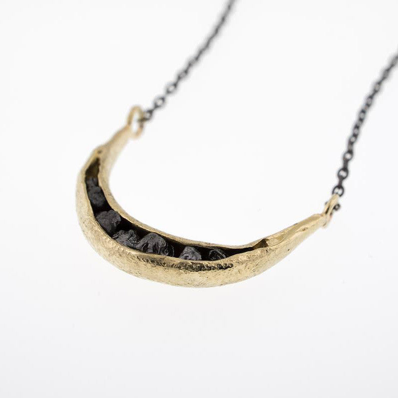 14K Gold Crescent Pod Necklace with Rough Diamond Chips