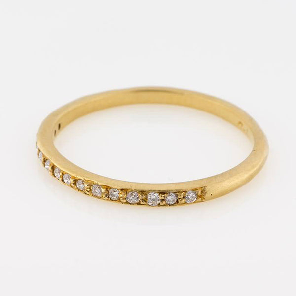 14K Gold Half Eternity Band with White Diamonds
