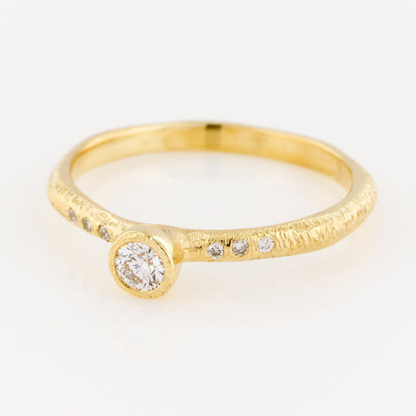 14K Diamond Solitaire Ring with Side Diamonds