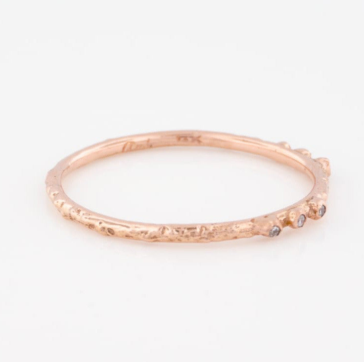 14K Rose Gold Textured Stacking Ring w/ 6 White Diamonds - KESTREL