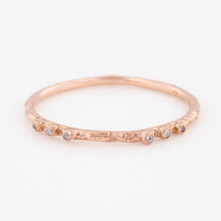 14K Rose Gold Coral Textured Stacking Ring Six White Diamonds