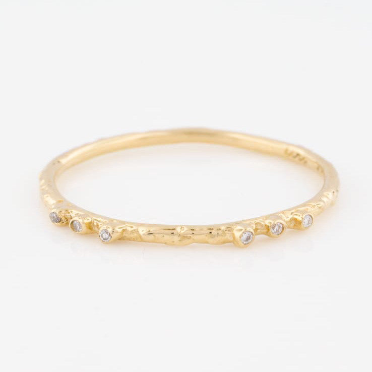 14K Yellow Gold Textured Stacking Ring with Six Diamonds