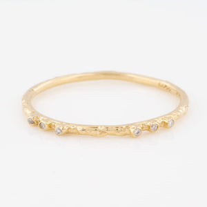 14K Yellow Gold Textured Stacking Ring w/ 6 White Diamonds - KESTREL