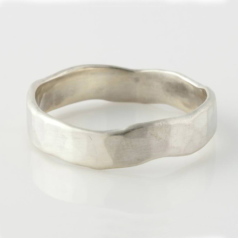 Sterling Silver Hammered Men's Band