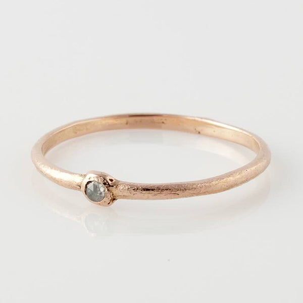 14k Rose Grey Diamond Ring