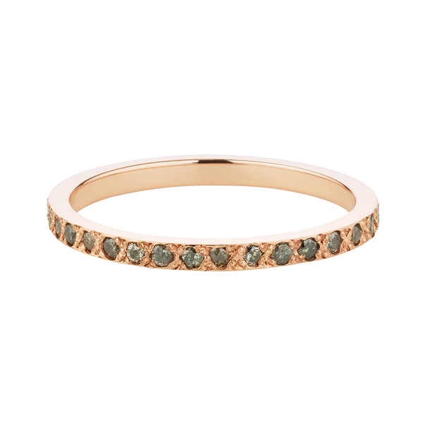 Aili Jewelry Rose Gold Eternity Band Grey Diamonds