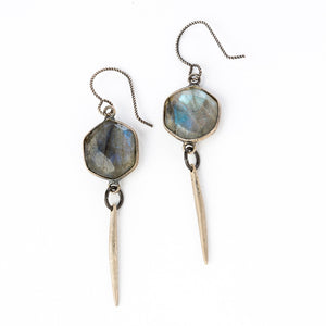 Labradorite Hexagon Earring w/ Point - KESTREL