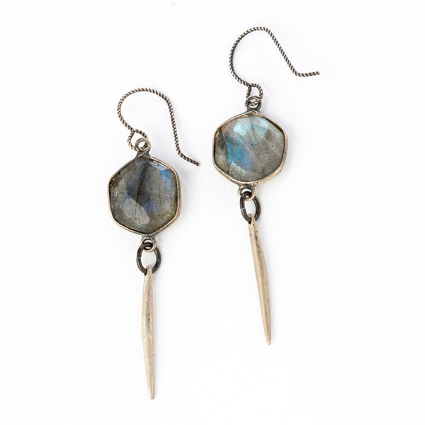 Labradorite Hexagon Dangle Earrings with Sterling Point