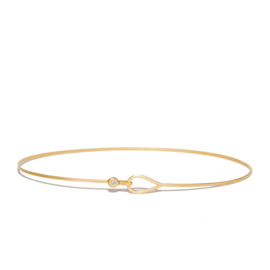 14K Teardrop Diamond Locking Bangle - KESTREL