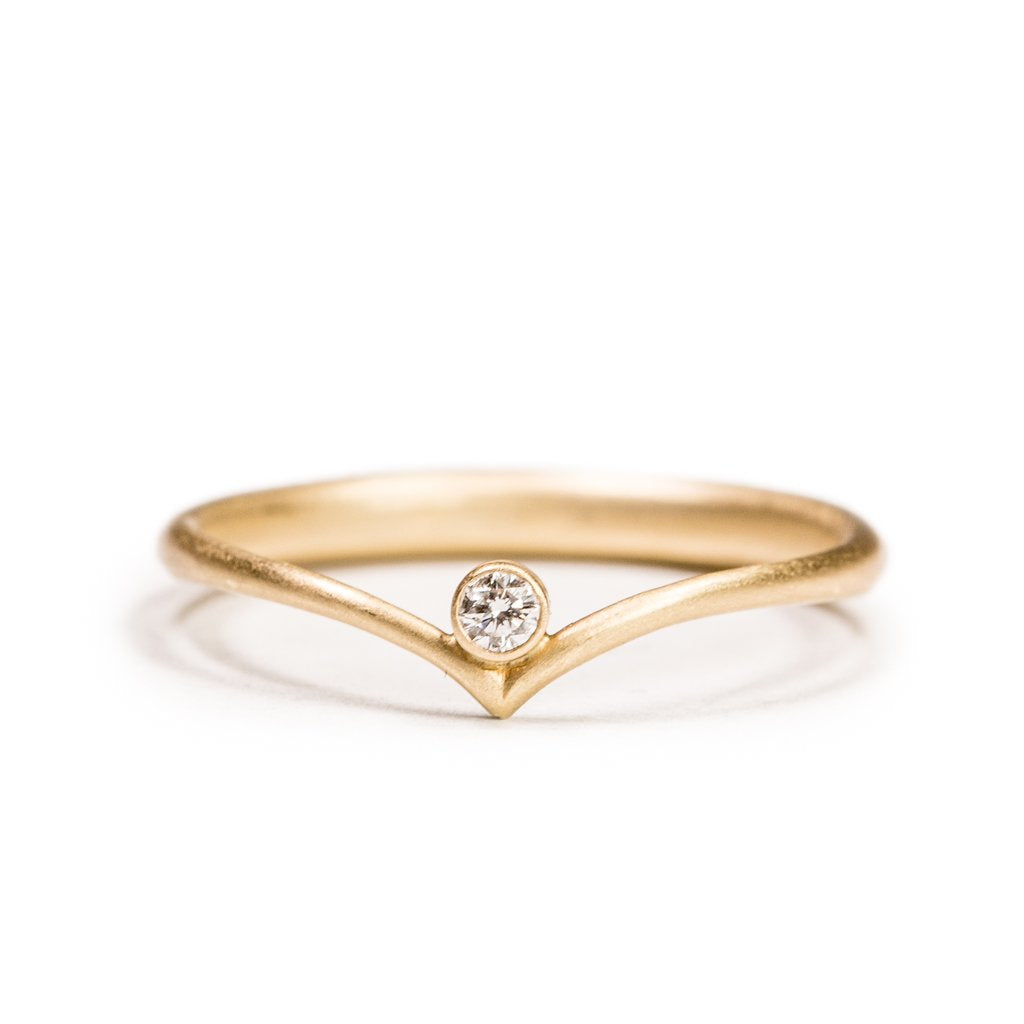 14K Wishbone Ring with Diamond - KESTREL