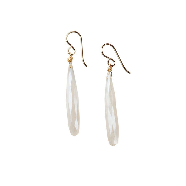 White Chalcedony Icicle Earrings