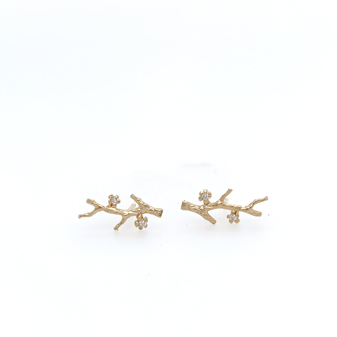14k Branch Studs w/Diamonds