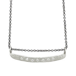 SS Weathered Bar Diamond Necklace