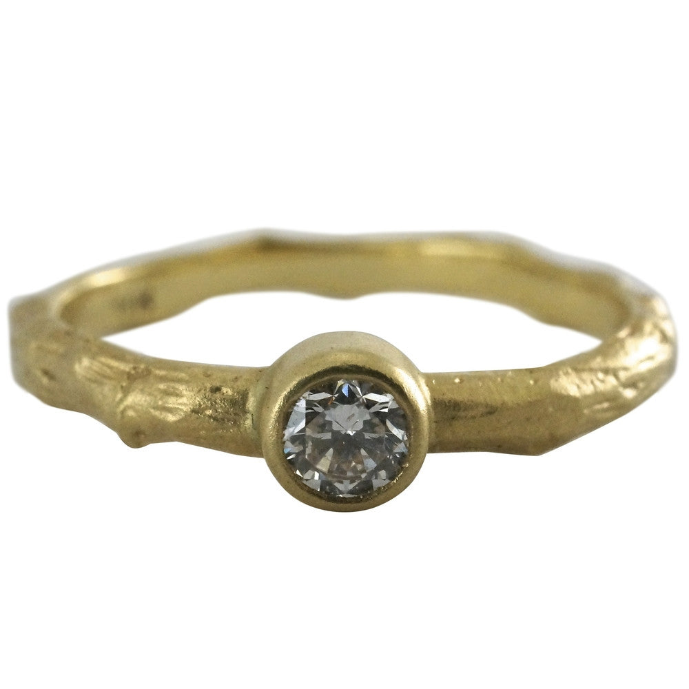 18k Vine Solitaire Band - KESTREL